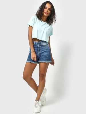 Freakins High Waist Denim Day Shorts