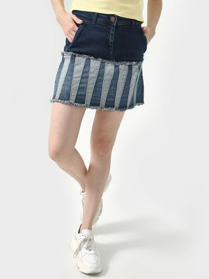 Freakins Cut & Sew Frayed Denim Skirt