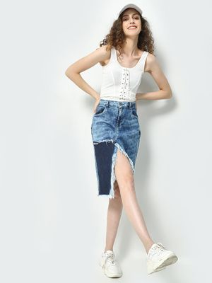 Freakins Acid Wash Front Split Denim Skirt