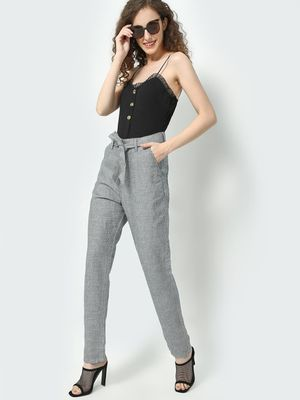 Freakins Belted Checkered Straight Fit Pant
