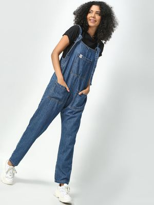 Freakins Washed Utility Denim Dungaree