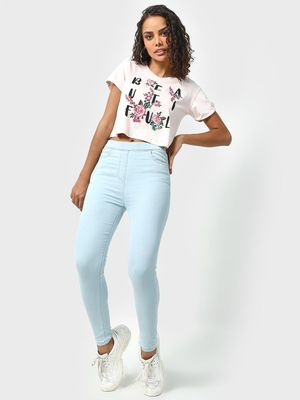 Freakins Light Wash Cropped Jeggings