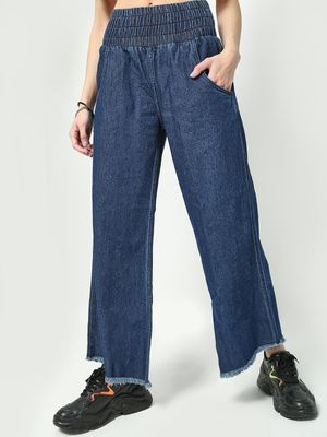 Freakins Elasticated Waist Wide Leg Jeans