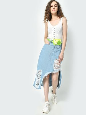 Freakins Light Wash Denim Distressed Skirt