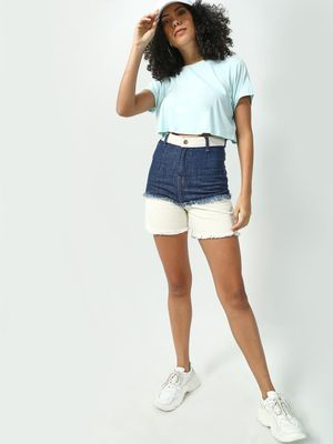 Freakins Two Tone High Waist Denim Shorts