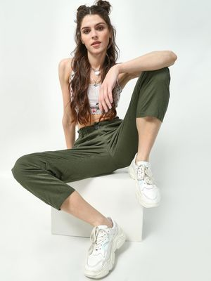 Freakins Paperbag Waist Cropped Trousers