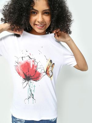 KOOVS Flower Butterfly Print Top