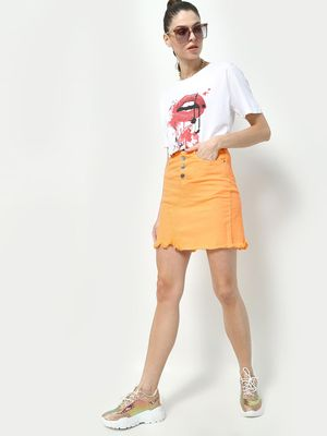 KOOVS Lips Splatter Paint Print T-Shirt