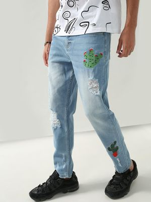 REALM Distressed Embroidered Tapered Fit Jeans