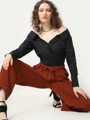MWB Off-shoulder Solid Casual Shirt