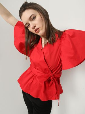 MWB Flared Sleeve Tie-Knot Wrap Top