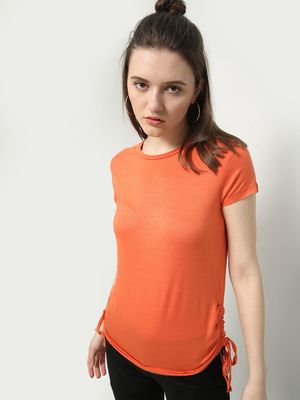 MWB Side Ruched Crew Neck Top
