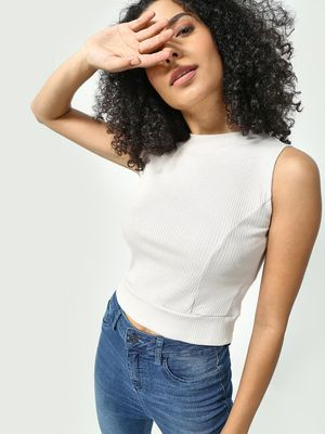 KOOVS All Over Ribbed Crop Top