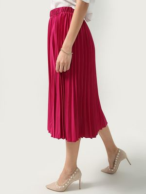 Oxolloxo Pleated Satin Finish Flared Midi Skirt