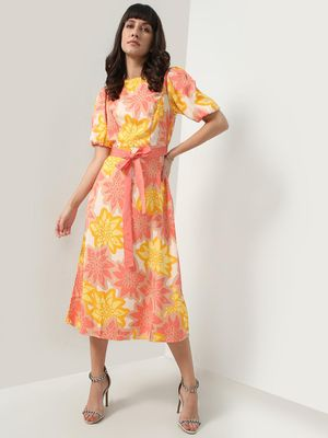 Oxolloxo All Over Tropical Floral Tie Belt Dress