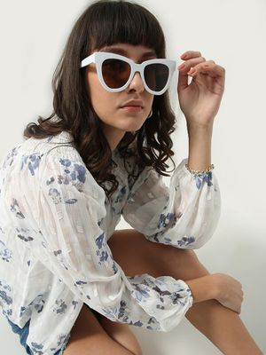 Oxolloxo All Over Floral Print Crew Neck Blouse