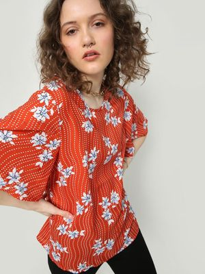 Oxolloxo Floral Print Tale Top