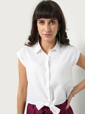 Oxolloxo Front Tie-up Cap Sleeves Casual Shirt