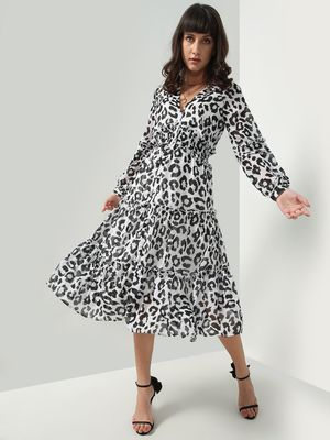 Oxolloxo All Over Leopard Print Maxi Dress