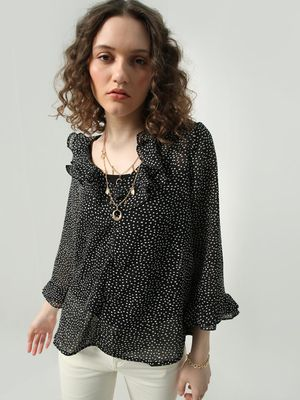 Oxolloxo Polka Dot Frill Sleeves Top