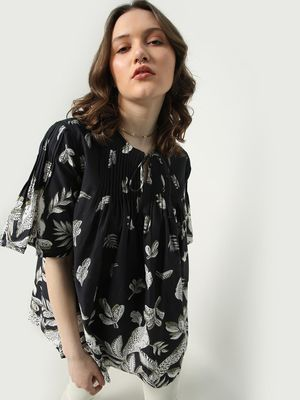 Oxolloxo Floral Print Keyhole Neck Tunic Top