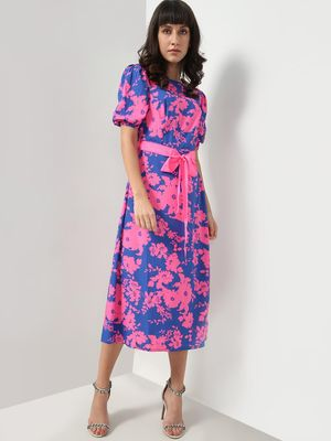 Oxolloxo Floral Print Tie-Knot Dress