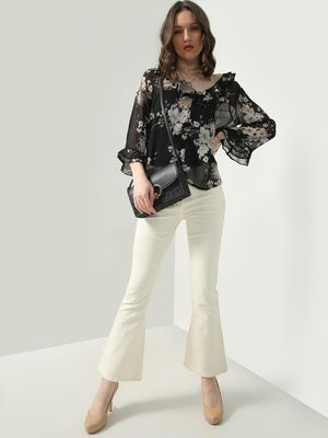 Oxolloxo Floral Print Ruffled Shawl Collar Top