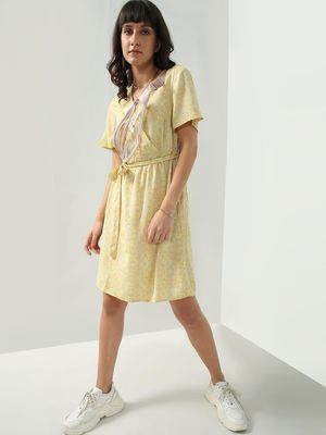Oxolloxo Floral Print Wrap Style Dress
