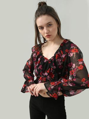 Oxolloxo Floral Print Ruffled Neckline Crop Top
