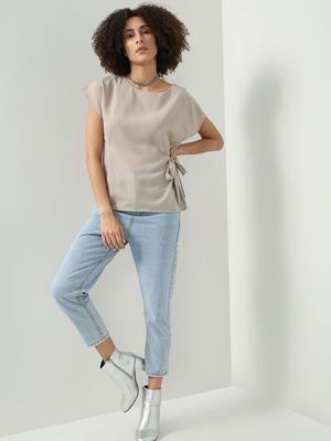 D'BASIC Side Tie-Knot Round Neck Top