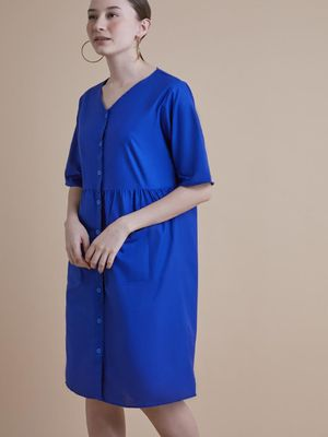 D'BASIC Solid Button Down Midi Dress