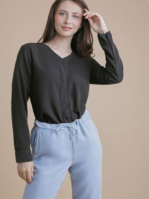 MERAKI V-Neck Long Sleeve Blouse