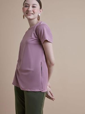 MERAKI Solid Color Casual Blouse