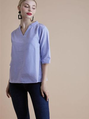 MERAKI Multi Stripe Mandarin Collar Top