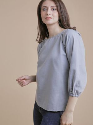 MERAKI Solid Cuffed Sleeves Blouses