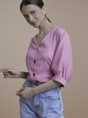 MERAKI V Neck Buttondown Blouse