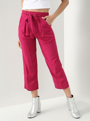 D'BASIC Solid Tie Knot Trousers