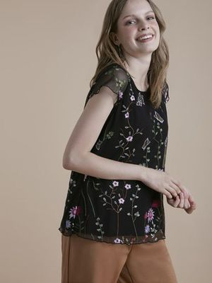 MERAKI Flower And Butterfly Print Top