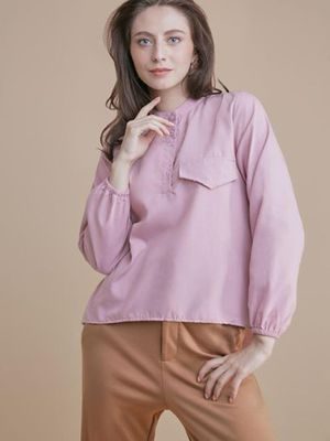 MERAKI Back Split Hem Patch Pocket Top