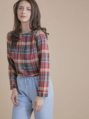 MERAKI Multi Check Crew Neck Top