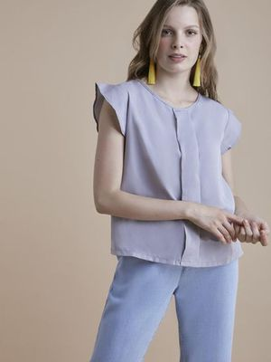 MERAKI Solid Color Pleated Top