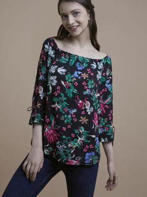MERAKI Tropical Print Boat Neck Blouse