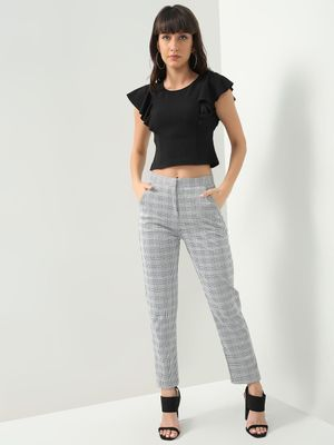 KOOVS Check Print Slim Fit Trousers