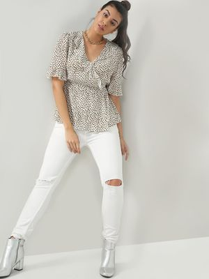 KOOVS Clinched Waist Printed Top