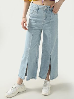 K Denim KOOVS Light-Wash Slit Flared Jeans