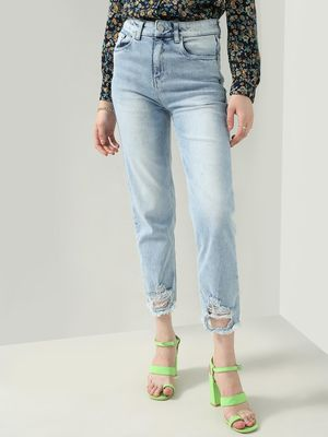 KOOVS Light Wash Distressed Hem Straight Jeans