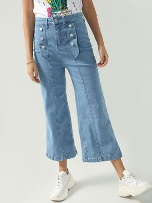 K Denim KOOVS Light-Wash Button Detailing Jeans