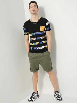 IMPACKT Striped Abstract Print T-Shirt