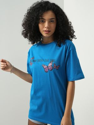 Blue Saint Slogan Print Oversized T-shirt
