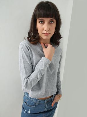 Blue Saint Textured Crop T-Shirt